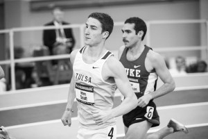 Marc Scott runs in his event at the NCAA Indoor National Championships, in which he placed 5th, earning an All-American honor for. Photo courtesy Walt Beasley.