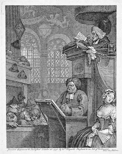 "William Hogarth's 1736 engraving, ""The Sleepy Congregation,"" was a criticism of the contemporary state of religion."