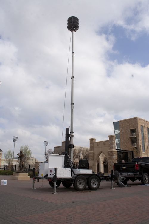 The LRAD Corporation brought a trailer-mounted long-range acoustic device (LRAD) for an on-campus demonstration. Director of Campus Security Joe Timmons and Executive Vice President Kevan Buck attended. This device has an effective range of 850 meters. Kyle Walker / Collegian
