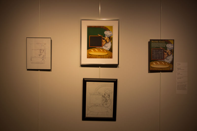 The exhibit depicts how a sketch becomes published art.