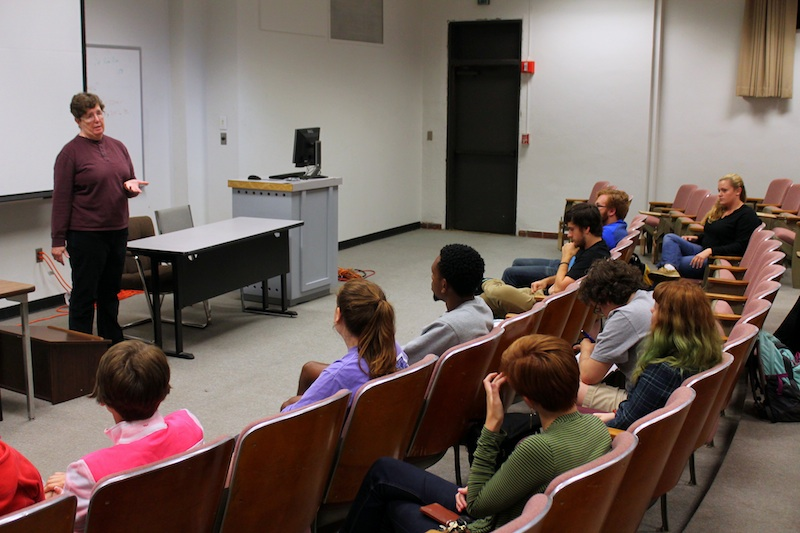 Dr. Julie Summers of Mental Health Association Oklahoma speaks about suicide prevention to a group of TU students at the Student Alliance for Violence Education's event.