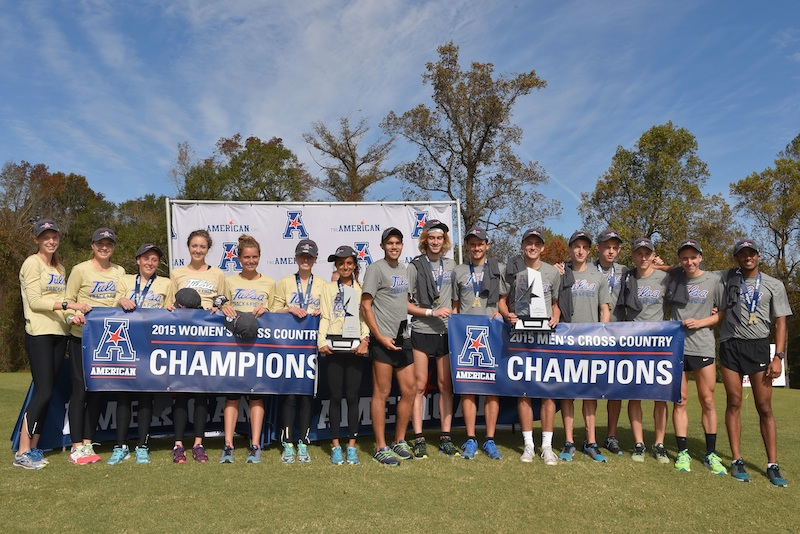 The men and women's cross country teams celebrate their conference titles after their wins on Saturday morning. Marc Scott won the individual men's title and Rachel Baptista led the women's side with a third place finish in the 6K race. In Tulsa's first two seasons as a member of the American Athletic Conference, they have swept both cross country titles each year.