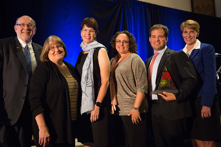University officials accepted the Quality of Life for All award at a gala on Sept 17 in Tulsa.