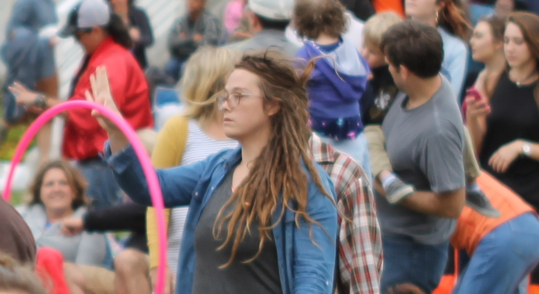 A Tulsa native wearing dreadlocks at the Tulsa Roots Music festival.